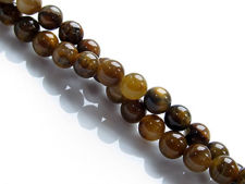 Picture of 6x6 mm, round, gemstone beads, golden tiger iron jasper