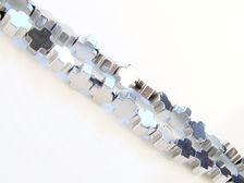 Picture of 4x4 mm, Greek cross, gemstone beads, hematite, rhodium metalized