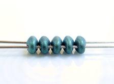 Afbeelding van 5x2.5 mm, SuperDuo kralen, Tsjechisch glas, 2 gaatjes, ondoorzichtig, metaalachtig suède, blauw groen of ultramarijn groen