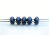 Image de 5x2.5 mm, perles SuperDuo, de verre tchèque, 2 trous, opaque, suède métallique, bleu foncé
