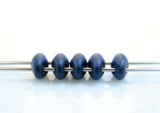 Picture of 5x2.5 mm, SuperDuo beads, Czech glass, 2 holes, opaque, metallic suede, dark blue
