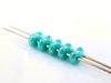 Image de 5x2.5 mm, perles SuperDuo, de verre tchèque, 2 trous, opaque, lustre vert turquoise