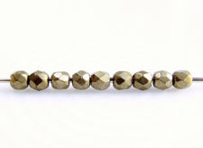 Picture of 2x2 mm, Czech faceted round beads, light Emperador or light honey brown, opaque, saturated metallic
