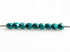 Picture of 2x2 mm, Czech faceted round beads, forest biome or ultramarine green, opaque, saturated metallic