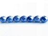 Afbeelding van 6x6 mm, Tsjechische ronde facetkralen, Provence blauw, ondoorzichtig, suede goud