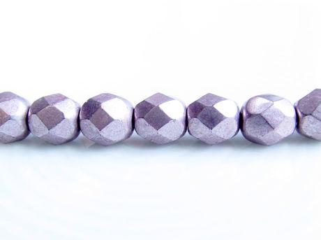 Afbeelding van 6x6 mm, Tsjechische ronde facetkralen, parelmoer paars of zilverachtig paars, ondoorzichtig, suede goud