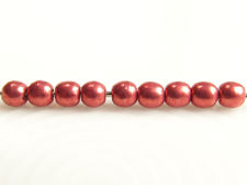 Picture of 3x3 mm, round, Czech druk beads, samba red, opaque, sueded gold