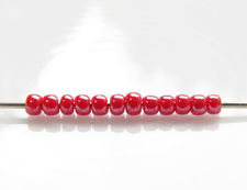 Picture of Japanese seed beads, Toho, size 11/0, cherry red, opaque, luster