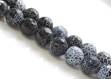 Picture of 10x10 mm, round, gemstone beads, crackle agate, black, faceted