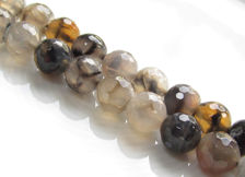 Picture of 10x10 mm, round, gemstone beads, crackle agate, taupe grey, faceted