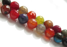 Picture of 10x10 mm, round, gemstone beads, crackle agate, multicolored, bright shades, faceted