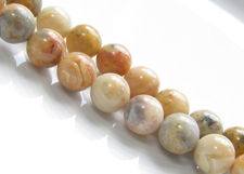 Picture of 10x10 mm, round, gemstone beads, crazy lace agate, natural