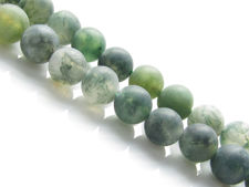 Image de 6x6 mm, perles rondes, pierres gemmes, agate mousse, verte, naturelle, dépolie