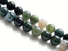 Image de 10x10 mm, perles rondes, pierres gemmes, agate mousse, verte, naturelle