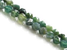 Image de 5x6 mm, perles rondes à coupe anglaise, pierres gemmes, agate mousse, verte, naturelle, à facettes