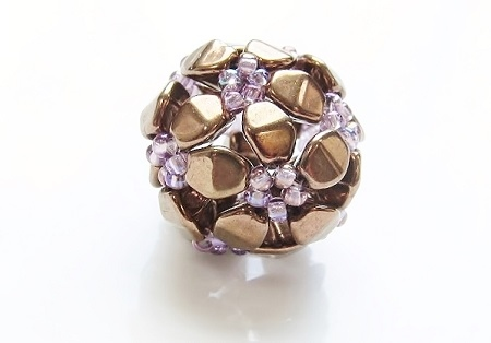 Stylized flower, beaded bead - mini